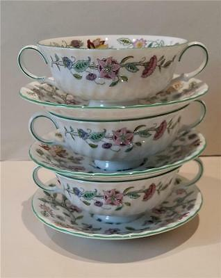 Haddon Hall - Minton - 3 Soup Coups And Under Plates - Green Edge