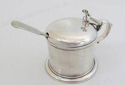 Sterling Silver Mustard Pot With Blue Glass Inner - Rubbed Hallmarks