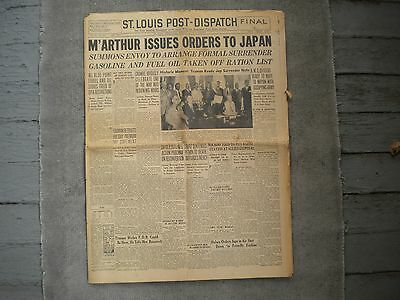 St. Louis Post-Dispatch August 15, 1945 WWII V-J Day USS Indianapolis Jaws Paper