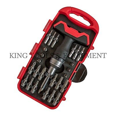 KING 26 PC Compact Screwdriver & Precision Bit Set w Stubby T-Handle Ratchet SAE