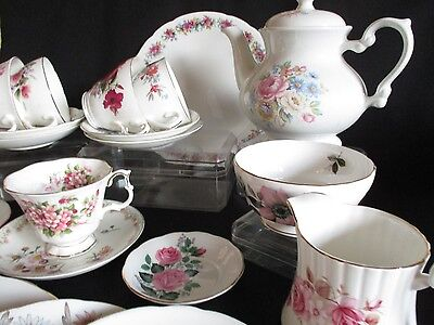 Vintage mismatched pretty china tea set 21 pieces  lovely condition & Tea pot