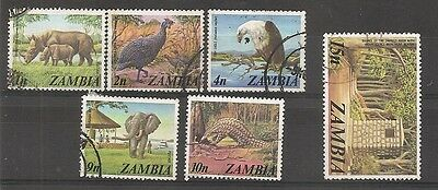 Zambia 1975 wild animals etc - used set of 6 stamps