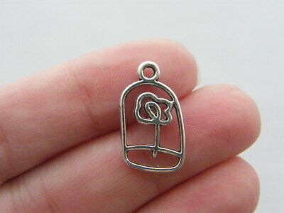 5 Rose Charms Antique Silver Tone large Size SC931