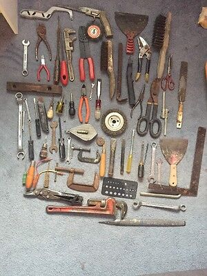 Mixed Tool Lot Wrenches, Pliers, Knives Misc Lot