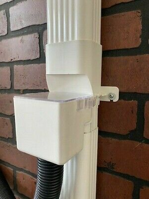 """Downspout Rain Diverter with Hose Adapter 2"""" x 3"""", Easy Clean, Removable Cover"""