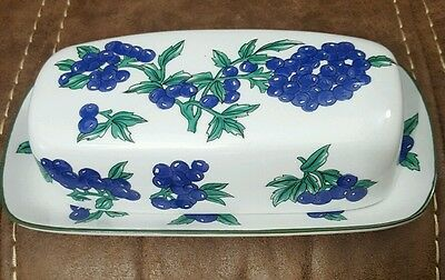 Vintage Berry Patch New Trends Collection Purple Berries Butter Dish