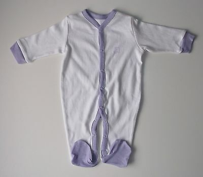 Baby's Sleepsuit 100% cotton white & purple 12-18 months all-in-one onesie girl