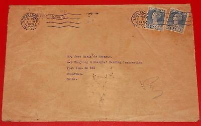 Old 20 CT Stamp Envelope dated 1925 from Gravenhage, Holland to Shanghai, China
