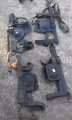 Job Lot Of 4 Antique / Vintage Horse Driving Bridles / Blinders .Driving Winkers