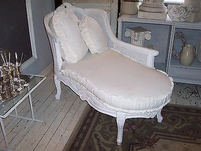 VINTAGE FRENCH PROVINCIAL LOUIS XVl STYLE CANE WOVEN CHAISE LOUNGE W CUSHIONS