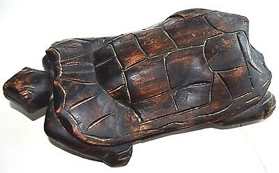 Large Rich Heavy Wood Carved Tortoise African? Special Wood Over 1 Foot Long Vgc