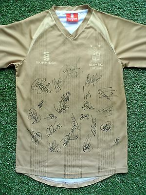 BURY FC Shirt Hand Signed by 2016/2017 Squad - 23 Autographs - Vaughan, Mayor