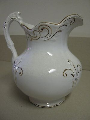 Vintage Victorian White Porcelain Wash Pitcher Raised Hand Painted Gold Details