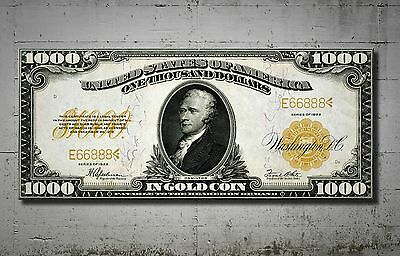 Mindblowing Artwork $1000 Dollars 1922 Gold Certificate Canvas 40 Inch Unc