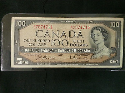 1954 Bank Of Canada Notes, $100, $ 50, $ 20, $ 10 & $ 5