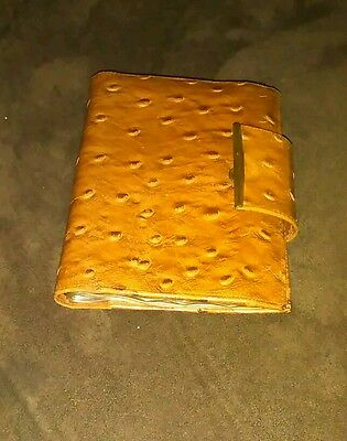 Vintage Very NICE Don Loper Ostrich Leather bifold wallet clutch 1960s 70s