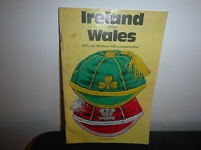 Ireland V Wales  Rugby Programme 1980