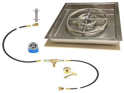"316 Stainless 12"" Fire Ring Pre Plummbed Gas Fire Pit/ Table Kit W/ 16x16"" PAN"