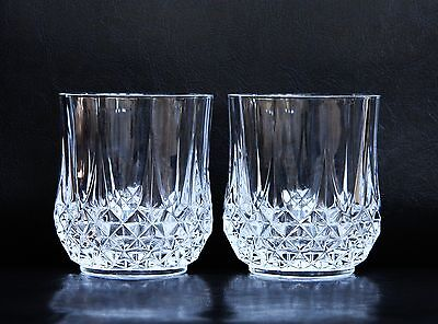 Pair Of Vintage Longchamp Cristal D'arques Crystal Glasses / Tumblers 23Cl
