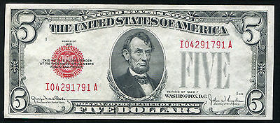 1928-F $5 Five Dollars Red Seal Legal Tender United States Note Gem Unc (C)