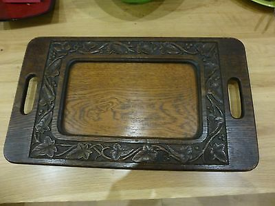 Unusual Vintage oak wooden tray with carved detail