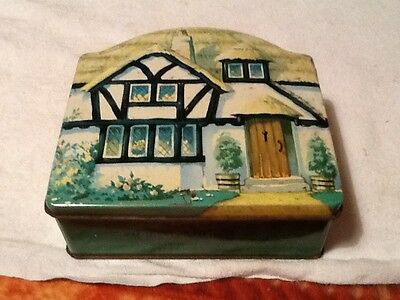1920's Tuckers Of Totnes Toffee tin Country Cottage style 13cm x13cm x 5cm