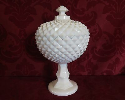 """Westmoreland Milk Glass 10.25""""T Sawtooth Comport Compote  Lidded Bowl ST-11"""