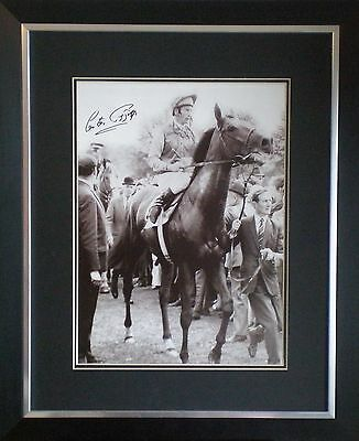 Lester Piggott Signed Horse Racing Photo Mounted & Framed COA AFTAL RD#175