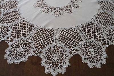 True Vintage Bobbin Cluny Lace Linen Tablecloth Handmade White 49""