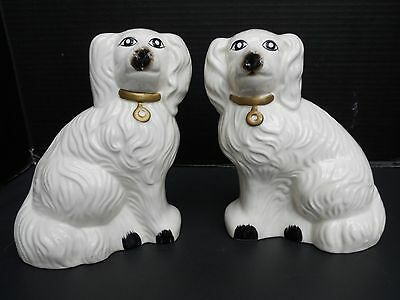 """Pair Staffordshire Reproduction Mantle Dogs - 8"""" Tall - 6-1/2"""" Wide"""