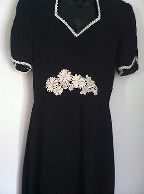 Vintage 60s Original Designer Rare Black crepe and Ivory Dress