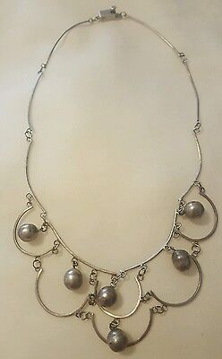 """Vintage Signed Taxco MEXICO Sterling Silver Bench Bead Collar Bib Necklace 14.5"""""""