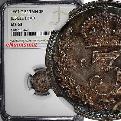 Great Britain Victoria Silver 1887 3 Pence Jubilee NGC MS63 Nice Toned KM# 758