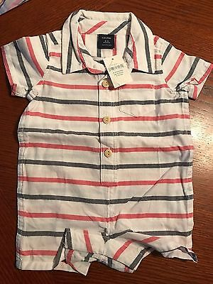Nwt Baby Gap Boys White Striped Shorts Romper New One Piece 0-3 Months