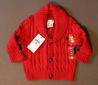 Ralph Lauren Polo Baby Cardigan Sweater Cable Shawl 3M 6M 24M NWT Genuine