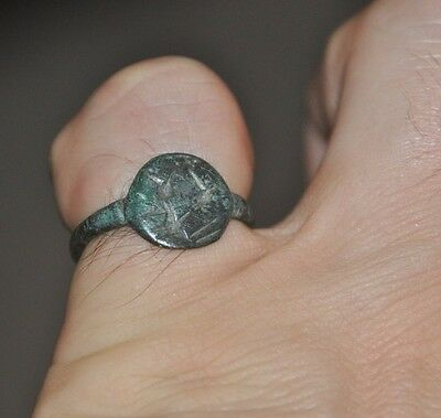 Authentic Ancient Roman Empire Legionary Intact & Wearable Bronze Ring Sz 7.5