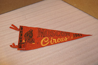 Felt Travel Banner 1940s 50s 60s Canada Moscow Circus