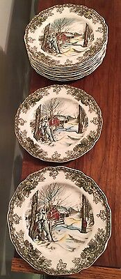 "12 Johnson Bros England Friendly Village 6 1/4"" Plates Very Excellent"