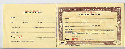 1941 Nevada Fishing License - Unsigned