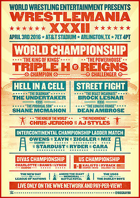 WWE Wrestlemania 32 Old-School Poster 100gm A4 Glossy Print