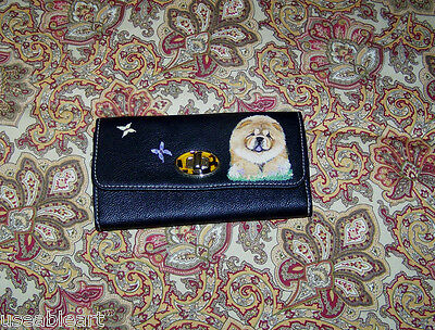 Hand painted chow on black womens wallet by Useableart