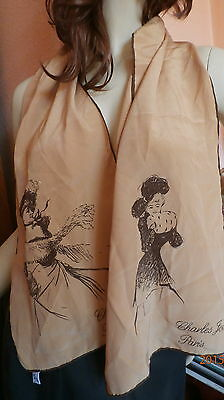 FOULARD SCARF SEDA NATURAL100% 120 cm X 26 cm CHARLES JOURDAN PARIS