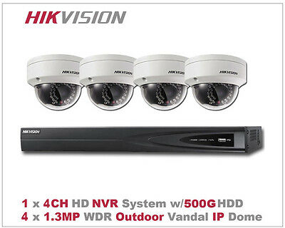 Hikvision HD IP Network Package - 4CH NVR/1TB + 4 x1.3MP Outdoor IR Vandal Dome