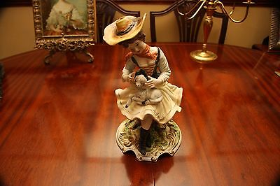 Large Italian Capodimonte Porcelain Figure: A Lady With Lamb Sitting On A Tree