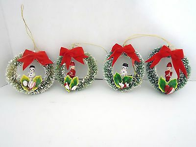 Vintage Mini Bottle Brush Wreaths Set of 4 with 2 snowmen & 2 Santa's Rare!