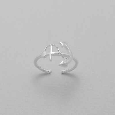 TJS 925 Sterling Silver Anchor Twist Band Design Toe Ring Adjustable Jewellery