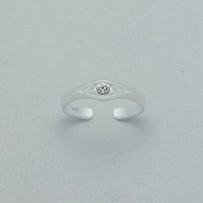 TJS 925 Sterling Silver Plain Design with Gem Toe Ring Adjustable Body Jewellery