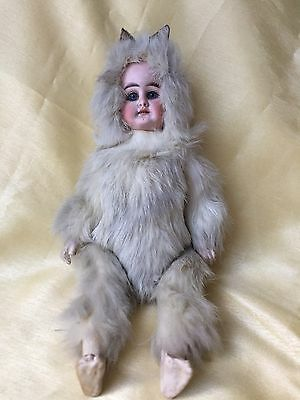 Antique Bisque Doll Baby Blue Eyes Teeth Rabbit Fur Costume French?