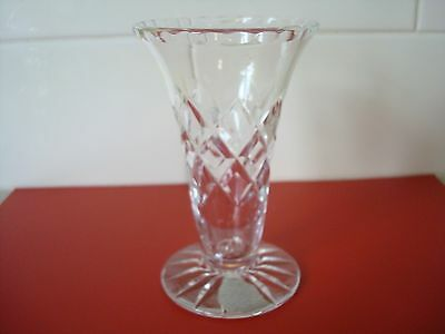 Small Size Diamond Cut English Crystal Vase With Fluted Edges
