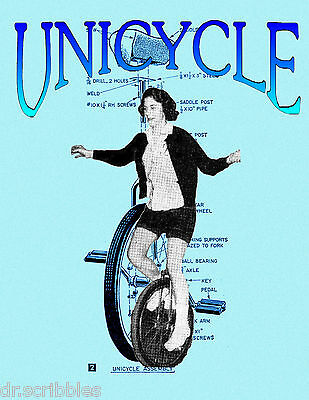 Plans for BUILDING and RIDING A UNICYCLE Article and drawings